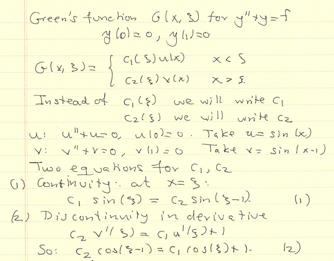 Green's Function Exercise