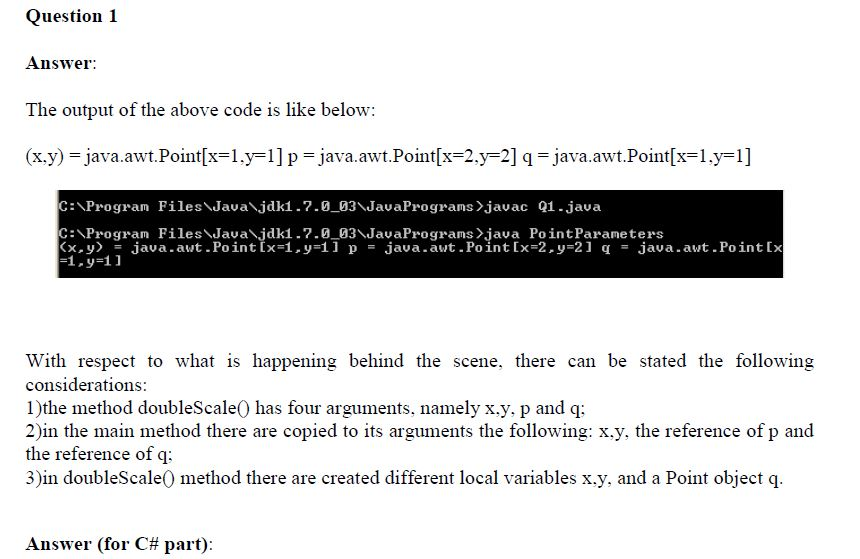 Homework about Passing Parameters in Java and C#