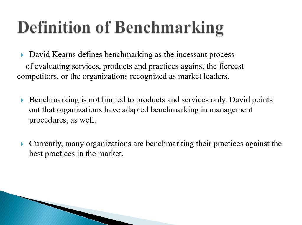 The Definition of Benchmarking (10 slides)