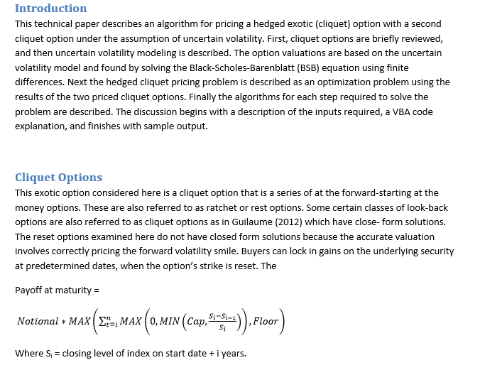 Pricing Hedged Exotic under Uncertain Volatility by Finite Difference Method (1805 words)