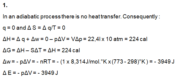 Physical Chemistry Questions