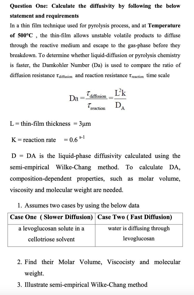 Chemistry: Calculation For Diffusivity With Approaches Explained
