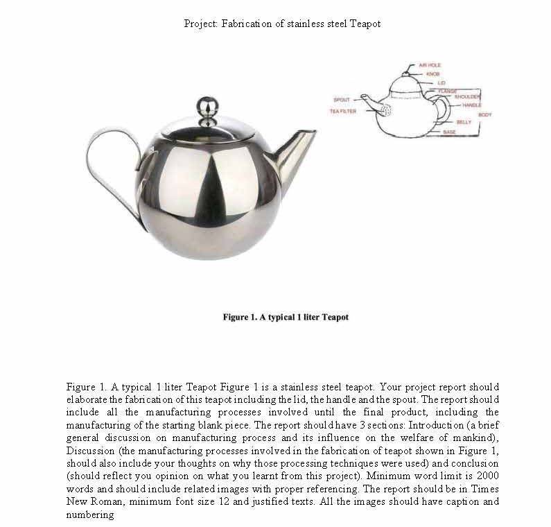 Differential Equations - Project: Fabrication Of Stainless Steel Teapot (1950 words)