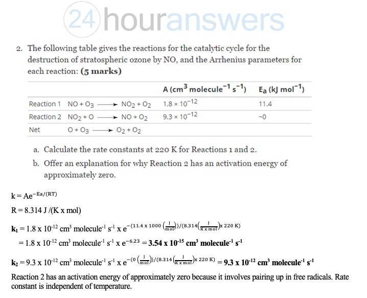 Environmental Chemistry Questions
