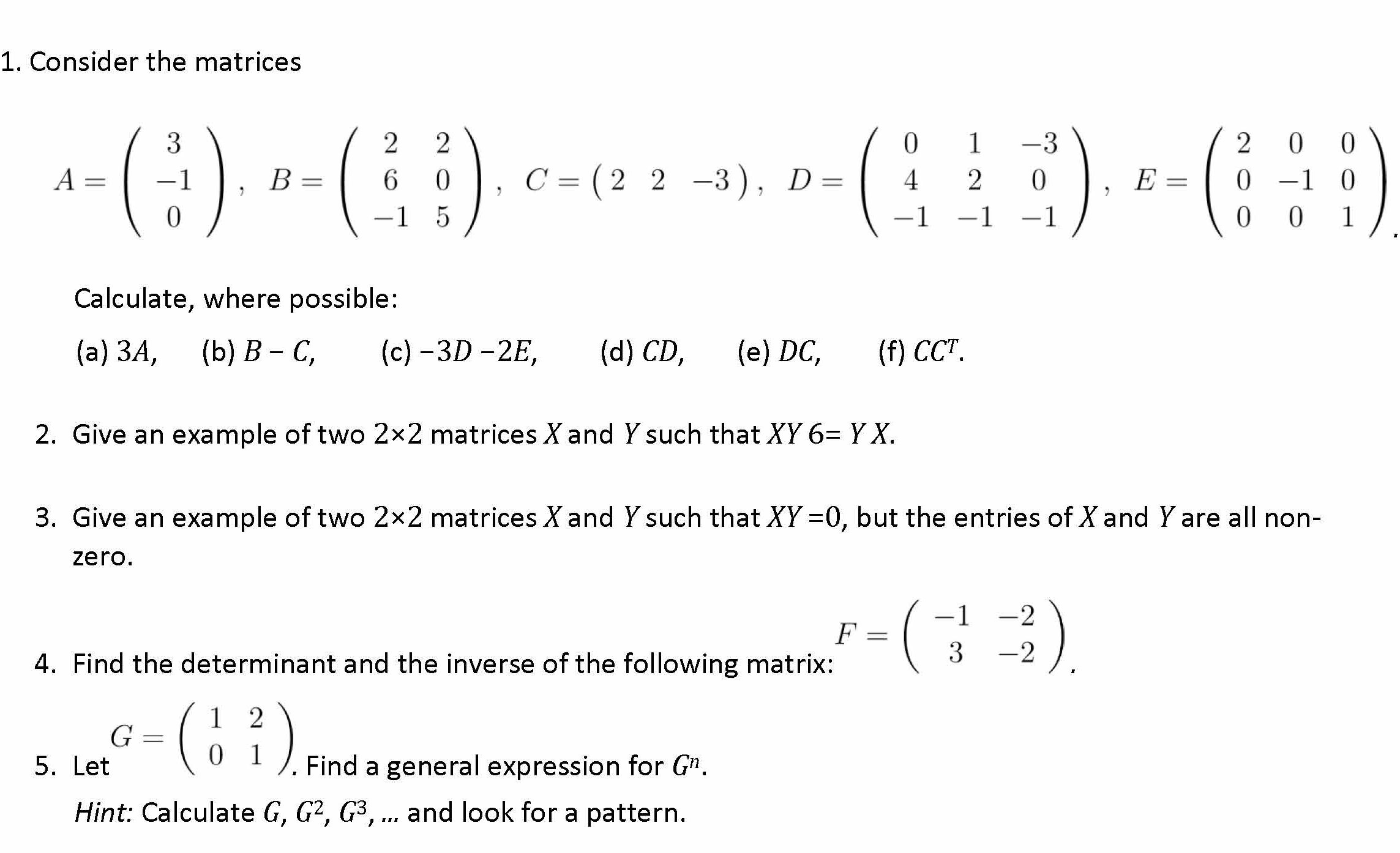 Algebra Questions: Matrices and Determinants