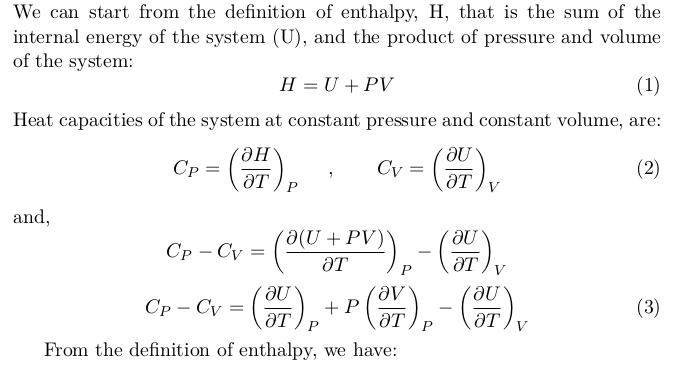 Equations Between Heat Capacities at Constant Pressure and Constant Volume