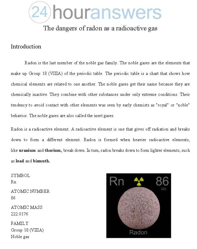 The Dangers of Radon as a Radioactive Gas (1115 words)