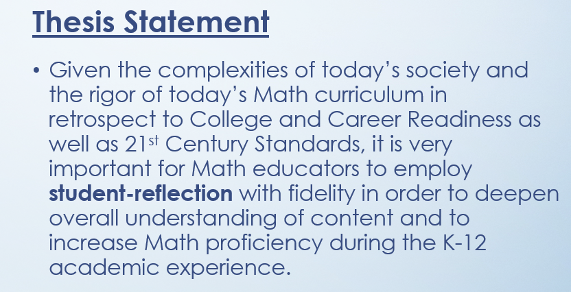Student - Reflection And Its Positive Impact In The Content - Area Of Mathematics (14 slides)