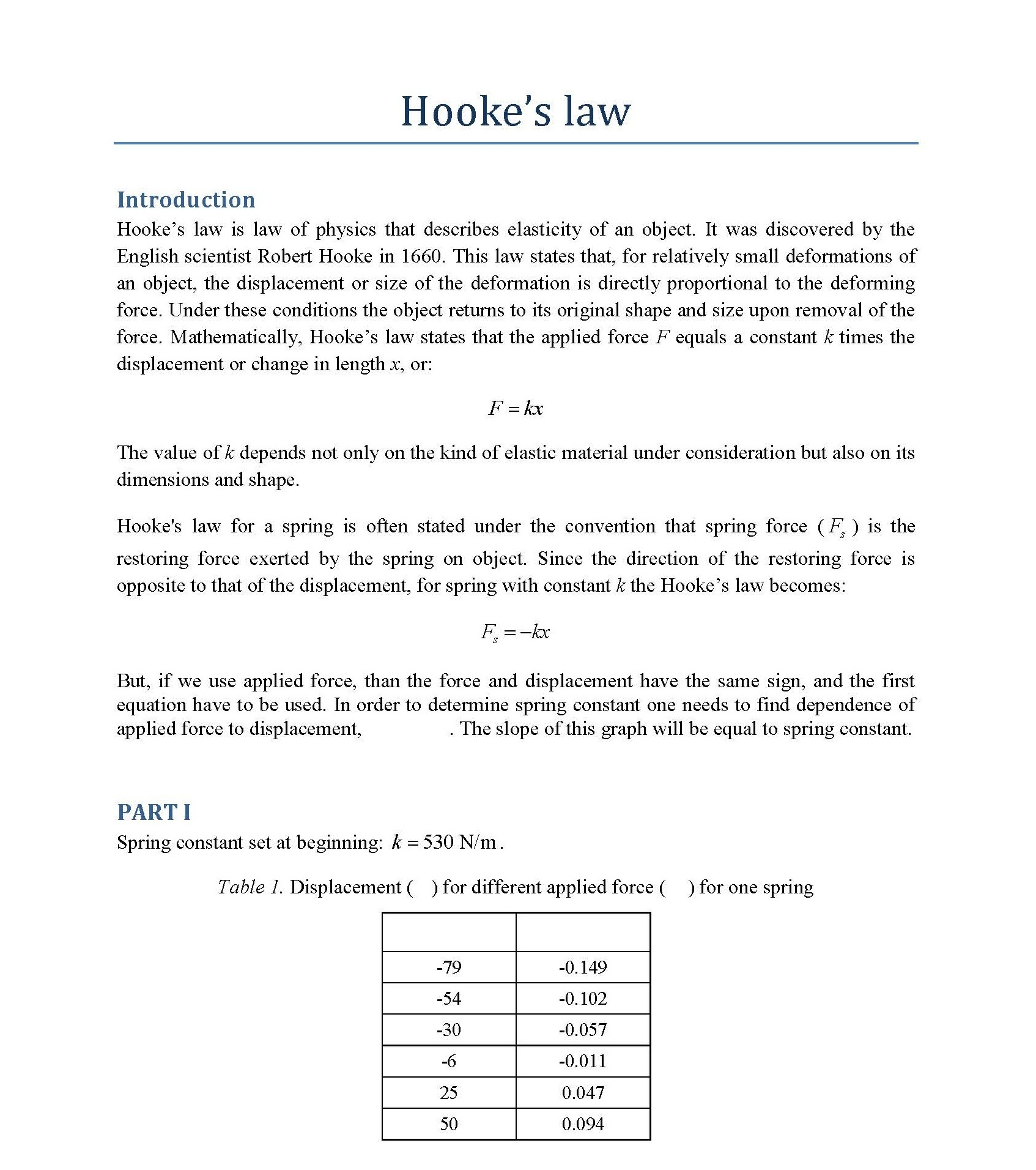 Hooke's Law Simulation