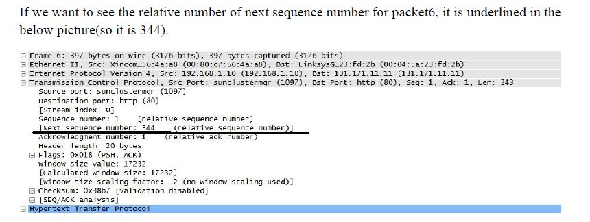 Networking Question Involving Relative and Absolute Packet Sequence Numbers