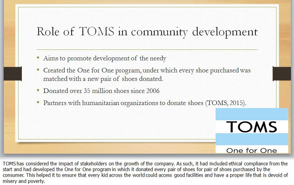Corporate Social Responsibility - TOMS Shoes (6 slides)