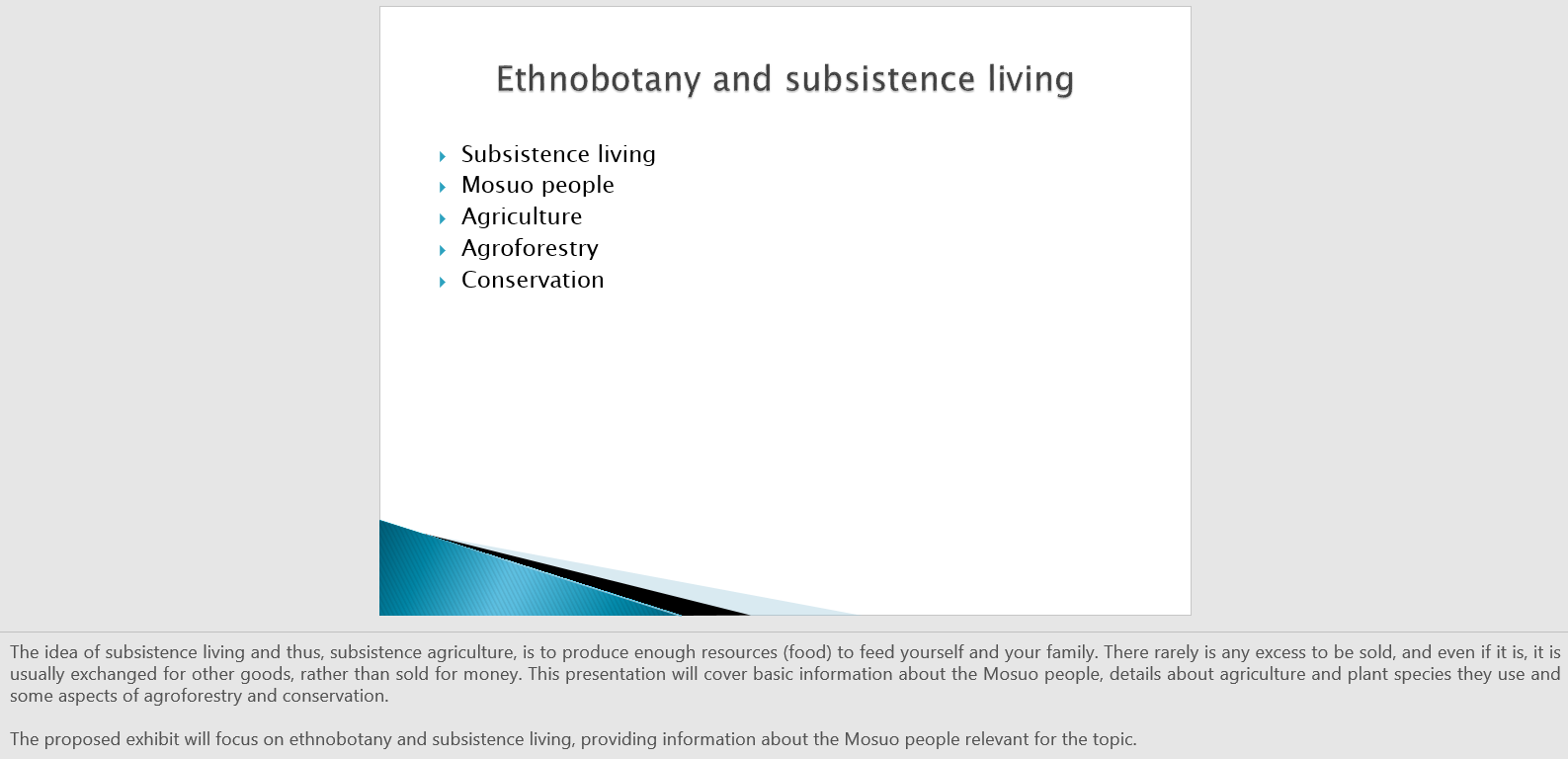 Ethnobotany And Subsistence: Museum Exhibit Project Proposal (12 slides)