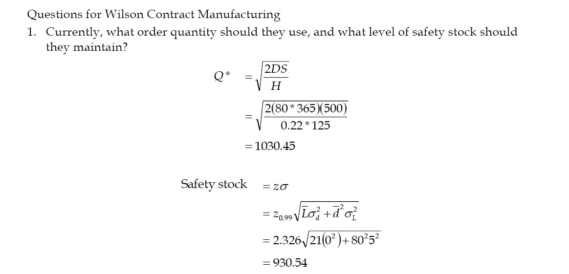 Wilson Contract Manufacturing Questions
