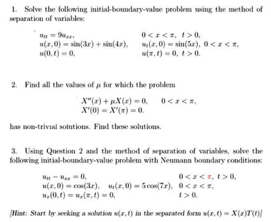Partial Differential Equations Questions