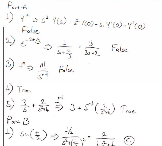 Engineering: Laplace Transform Questions