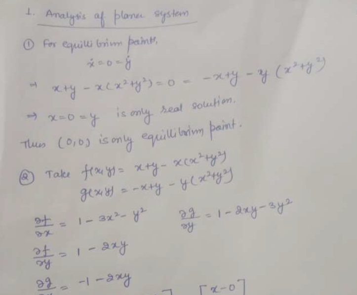 Mathematics Questions - Analysis of a Planar System