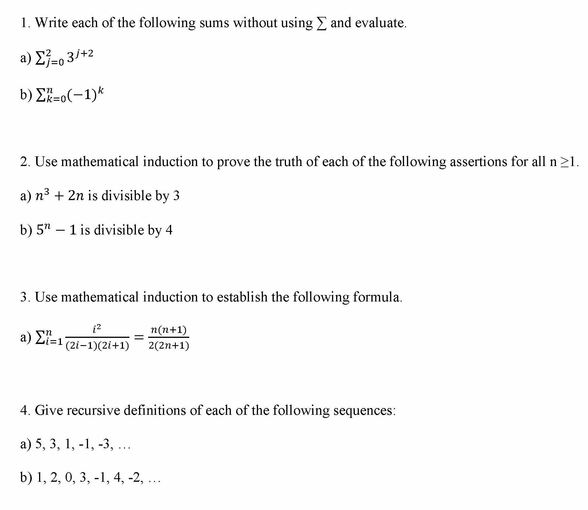 Induction and Sequence Recursive Definition Exercises