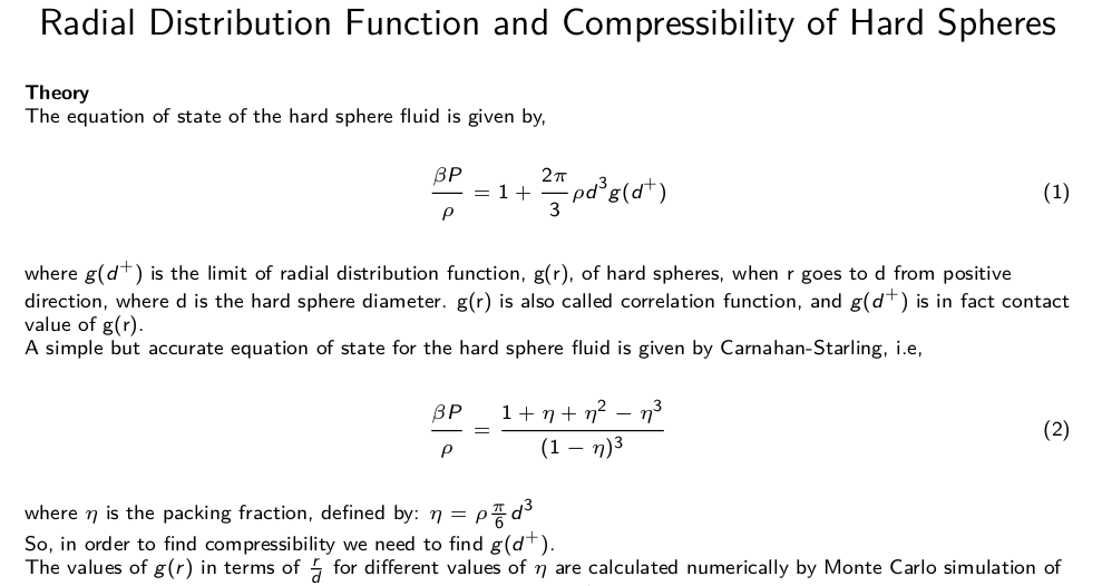 Radial Distribution Function and Compressibility of Hard Spheres