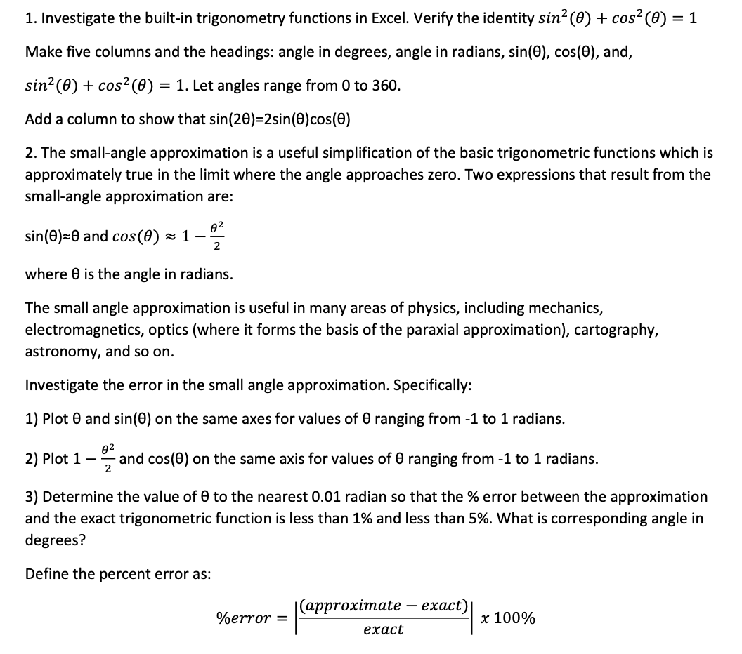 Trigonometric Functions in Excel and Small Angle Approximation
