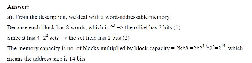 2-Parts Question with 2-Way Associative Cache and Hit Ratio