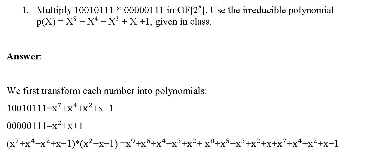 Multiplication in Galois Fields and RSA-Like Decryption