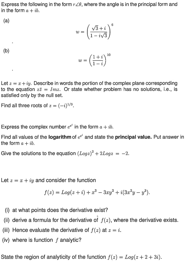 Complex Analysis Questions