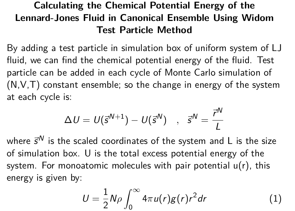 Chemical Potential Energy of Lennard-Jones Fluid: Widom Test Particle Method