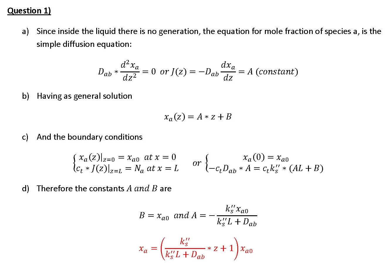 Transport Phenomena Questions