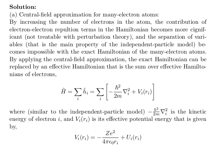Central-Field Approximation for Many-Electron Atoms, Excited State, LS-Coupling