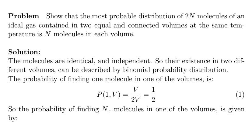 Statistical Mechanics: Distribution of 2N Molecules of an Ideal Gas
