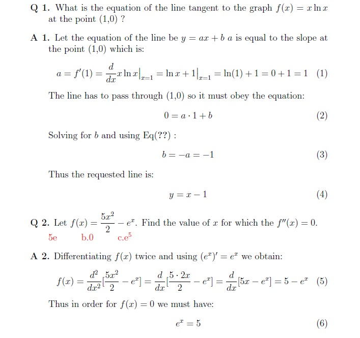 Mathematics Calculus Questions