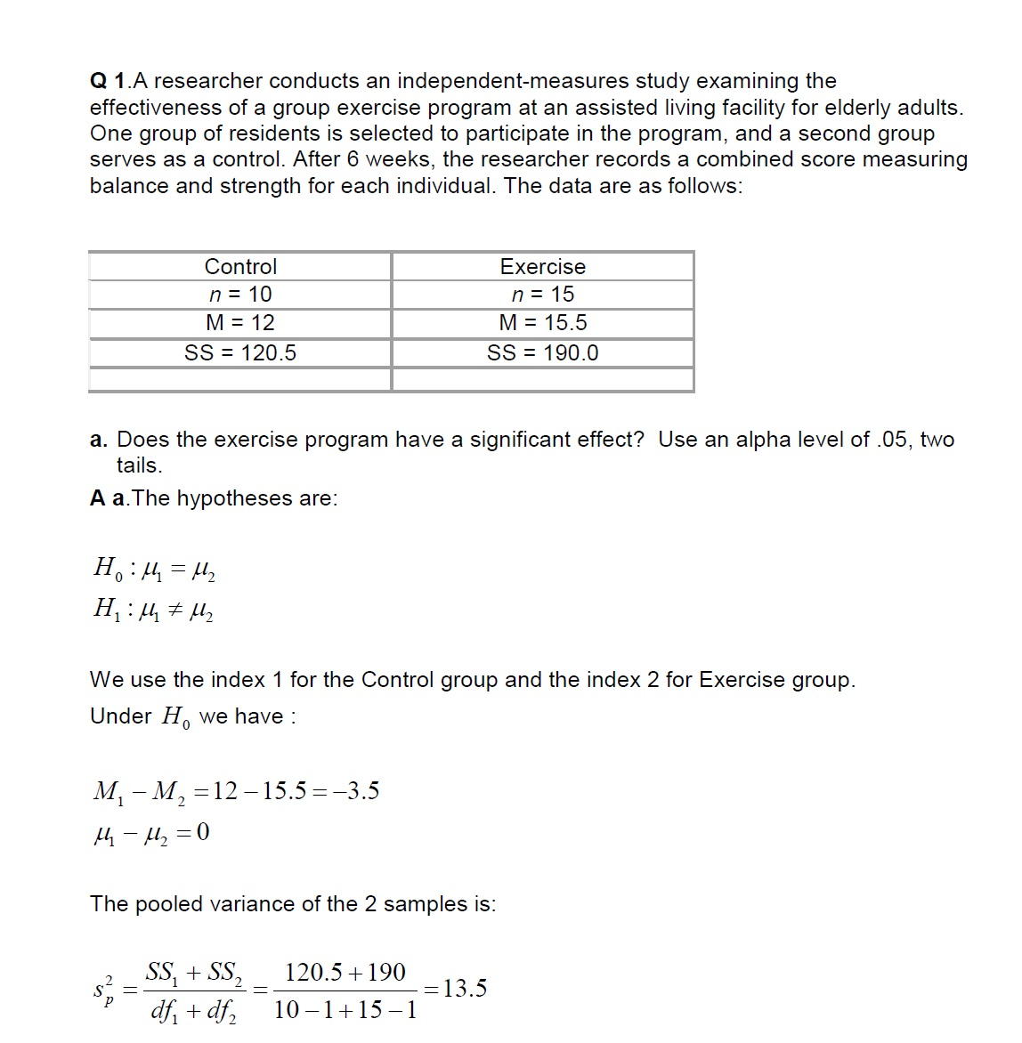 Mathematics Statistics Questions