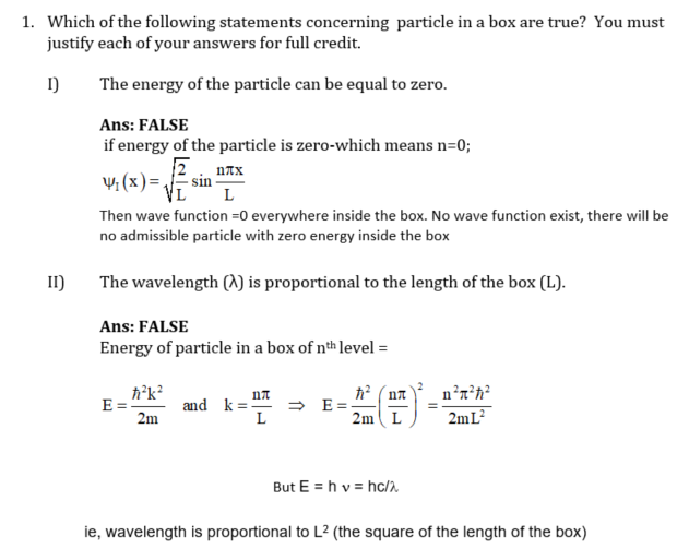 Particle in a Box Questions